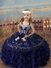 Embroidery and Ruffled Layers Little Girls Pageant Dress Purple Lace Up Sleeveless Floor Length