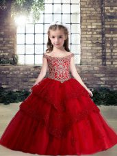 Lace and Appliques Kids Formal Wear Red Lace Up Sleeveless Floor Length