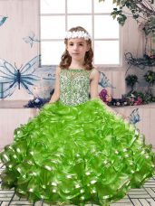 Green Lace Up Party Dress for Girls Beading and Ruffles Sleeveless Floor Length