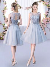 Grey Lace Up Scoop Lace and Belt Dama Dress for Quinceanera Tulle Sleeveless