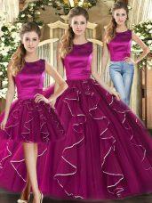 Simple Scoop Sleeveless Sweet 16 Dresses Floor Length Ruffles Fuchsia Tulle