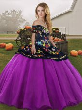 Off The Shoulder Sleeveless 15 Quinceanera Dress Floor Length Embroidery Black And Purple Tulle