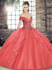 Off The Shoulder Sleeveless 15th Birthday Dress Floor Length Beading and Ruffles Watermelon Red Tulle