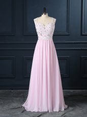 Spectacular Floor Length Baby Pink Prom Dresses Straps Cap Sleeves Backless