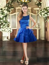Mini Length Lace Up Cocktail Dress Royal Blue for Prom and Party with Ruffled Layers