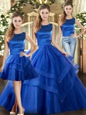 Fashionable Royal Blue Lace Up Vestidos de Quinceanera Ruffled Layers Sleeveless Floor Length