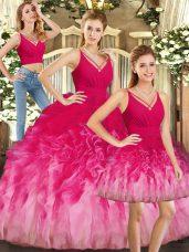 Cheap Sleeveless Ruffles Backless Quinceanera Gown