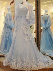 Edgy Light Blue Prom Gown Prom and Party and Military Ball with Lace and Appliques and Belt Scoop Long Sleeves Court Train Lace Up
