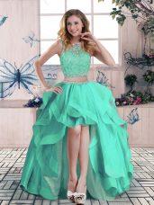 High Low Apple Green Pageant Dress for Teens Scoop Sleeveless Zipper