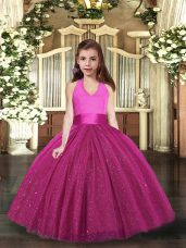 Top Selling Ruching Little Girls Pageant Gowns Fuchsia Lace Up Sleeveless Floor Length