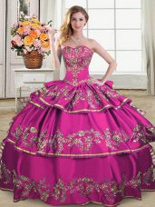 Free and Easy Fuchsia Ball Gowns Embroidery and Ruffled Layers Quinceanera Dress Lace Up Satin and Organza Sleeveless Floor Length