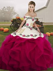 Fuchsia Quinceanera Gowns Military Ball and Sweet 16 and Quinceanera with Embroidery and Ruffles Off The Shoulder Sleeveless Lace Up