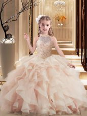 Pink Lace Up Girls Pageant Dresses Beading Sleeveless Floor Length Brush Train