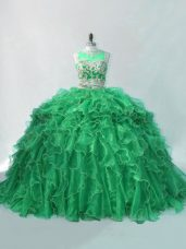 Captivating Sleeveless Beading and Ruffles Quinceanera Dresses with Green Brush Train