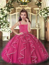 Straps Sleeveless Little Girls Pageant Dress Floor Length Ruffles Fuchsia Tulle