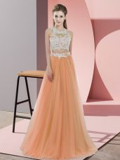 Floor Length Two Pieces Sleeveless Orange Quinceanera Court Dresses Zipper