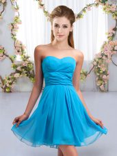 Fantastic Aqua Blue Chiffon Lace Up Sweetheart Sleeveless Mini Length Bridesmaid Dresses Ruching