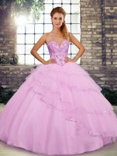 Beauteous Lilac Ball Gowns Beading and Ruffled Layers Quinceanera Gown Lace Up Tulle Sleeveless