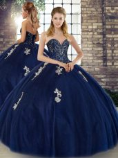 Glorious Sweetheart Sleeveless Lace Up Sweet 16 Dress Navy Blue Tulle