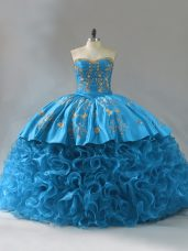Sleeveless Brush Train Lace Up Embroidery and Ruffles Quinceanera Gowns