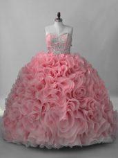 Sweetheart Sleeveless 15th Birthday Dress Brush Train Beading Pink Fabric With Rolling Flowers