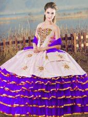 Flirting White And Purple Lace Up Sweetheart Beading and Ruffled Layers 15th Birthday Dress Organza Sleeveless
