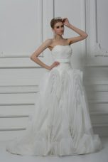 On Sale Sleeveless Belt Lace Up Wedding Gowns with White Brush Train