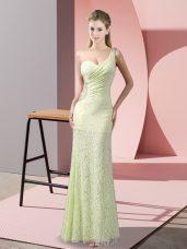 Yellow Green Sleeveless Beading and Lace Floor Length Evening Dress