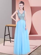 Edgy V-neck Sleeveless Tulle Prom Gown Beading Zipper