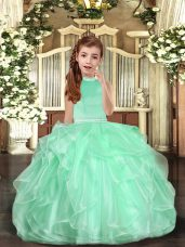 Apple Green Sleeveless Beading Backless Little Girls Pageant Dress Wholesale