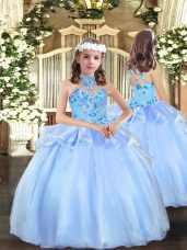Organza Sleeveless Floor Length Party Dress for Toddlers and Appliques
