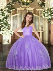 Floor Length Lace Up Little Girl Pageant Dress Lavender for Party and Wedding Party with Appliques