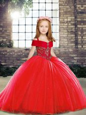 Red Sleeveless Brush Train Beading Party Dress for Toddlers