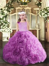Top Selling Floor Length Lilac Party Dress for Toddlers Scoop Sleeveless Zipper