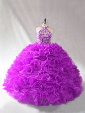 Glamorous Purple Sleeveless Organza Lace Up 15th Birthday Dress for Sweet 16 and Quinceanera