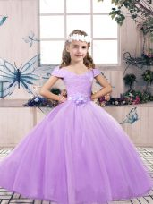 Luxurious Lavender Ball Gowns Tulle Off The Shoulder Sleeveless Belt Floor Length Lace Up Winning Pageant Gowns