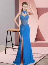 Blue Halter Top Backless Beading Sleeveless