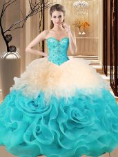 Unique Fabric With Rolling Flowers Sleeveless Floor Length Quinceanera Gowns and Beading and Ruffles