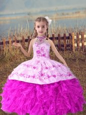 High End Sleeveless Beading and Embroidery and Ruffles Lace Up Girls Pageant Dresses