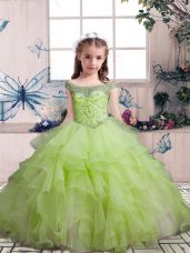 Off The Shoulder Sleeveless Organza Little Girls Pageant Dress Wholesale Beading and Ruffles Lace Up