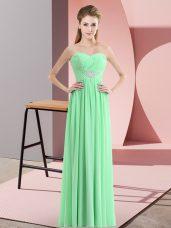 Apple Green Empire Sweetheart Sleeveless Chiffon Floor Length Zipper Beading Celebrity Dress