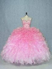 Extravagant Multi-color Sleeveless Organza Lace Up Quinceanera Dress for Sweet 16 and Quinceanera