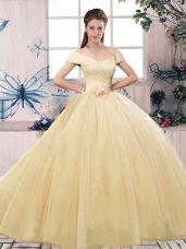Champagne Ball Gowns Lace and Hand Made Flower Vestidos de Quinceanera Lace Up Tulle Short Sleeves Floor Length