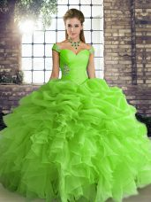 Pretty Ball Gowns Beading and Ruffles and Pick Ups 15 Quinceanera Dress Lace Up Organza Sleeveless Floor Length