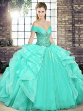 Custom Design Apple Green Lace Up Vestidos de Quinceanera Beading and Ruffles Sleeveless Floor Length