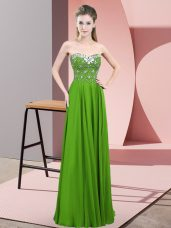 Beautiful Green Empire Sweetheart Sleeveless Chiffon Floor Length Zipper Beading Dress for Prom