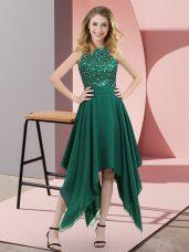 Beautiful Dark Green Chiffon Zipper High-neck Sleeveless Asymmetrical Party Dress for Girls Beading and Sequins