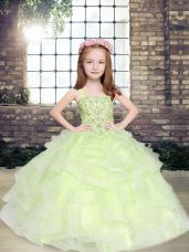 Exquisite Yellow Green Lace Up Party Dress for Toddlers Beading Sleeveless Floor Length