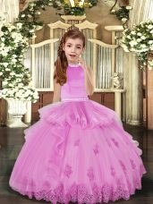 Lilac Tulle Backless High-neck Sleeveless Floor Length Little Girl Pageant Gowns Beading and Appliques