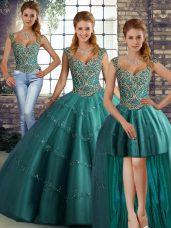 Straps Sleeveless Lace Up Ball Gown Prom Dress Teal Tulle
